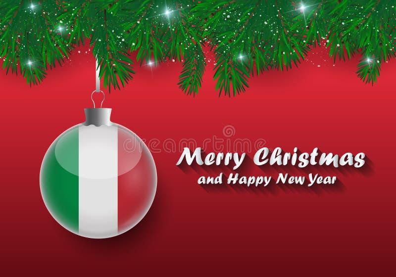 Frontera del vector de las ramas y de la bola de árbol de navidad con el fla de Italia libre illustration