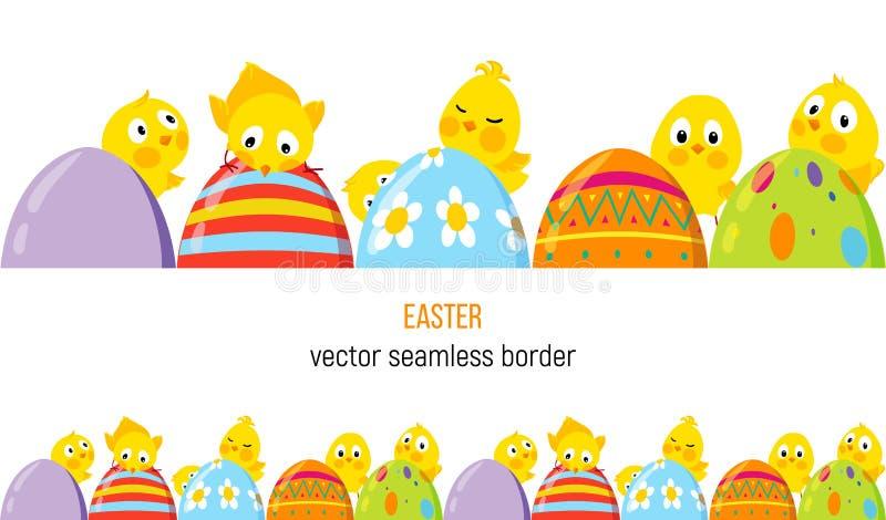 Frontera del vector de Pascua con los polluelos y los huevos lindos ilustración del vector