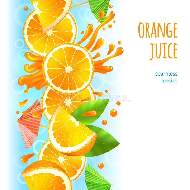 Frontera del zumo de naranja stock de ilustración