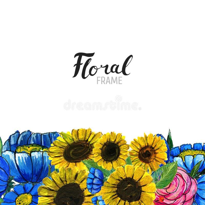 Frontera dibujada mano de la flor ilustración del vector