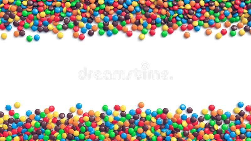 Frontera doble de los caramelos de chocolate revestidos coloridos en el fondo blanco ilustración del vector