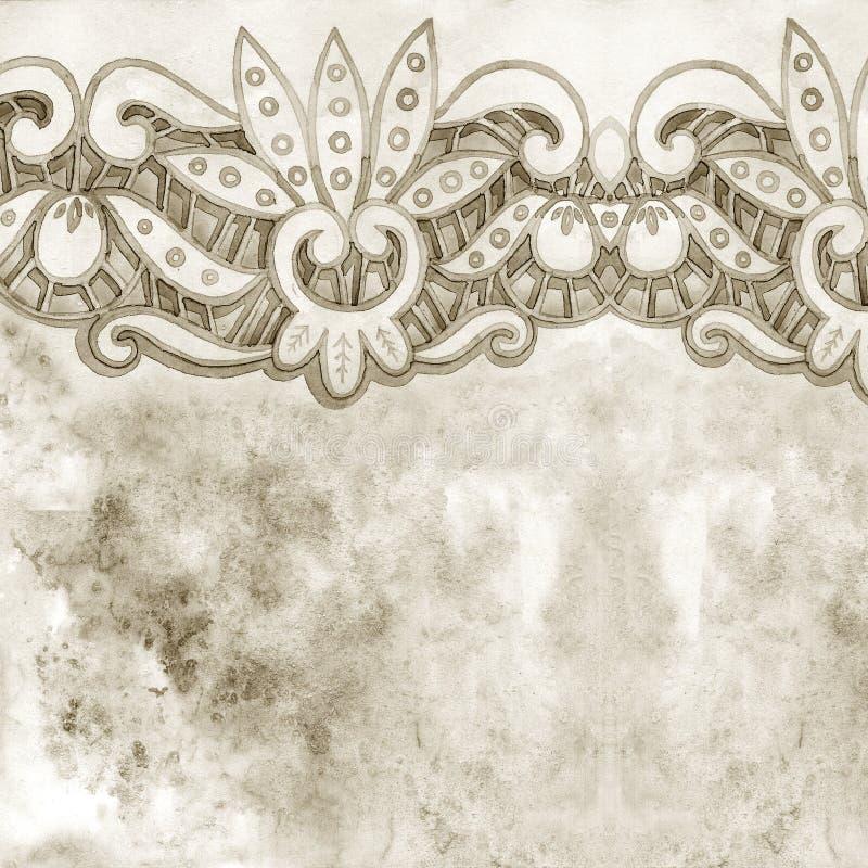 Frontera elegante de encaje de la acuarela Ajuste de encaje del vintage Ejemplo del drenaje de la mano stock de ilustración