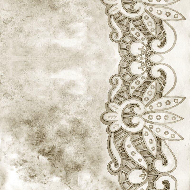 Frontera elegante de encaje de la acuarela Ajuste de encaje del vintage Ejemplo del drenaje de la mano libre illustration