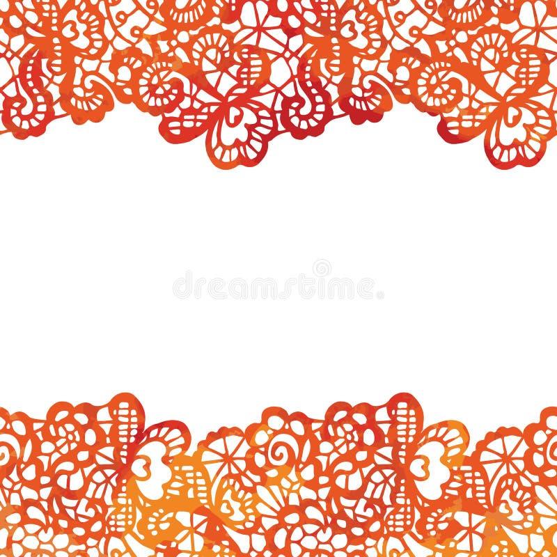 Frontera elegante de encaje Tarjeta _1 de la invitación stock de ilustración