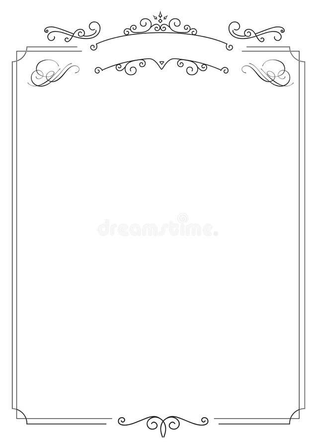Frontera elegante retra ornamental y fondo blanco stock de ilustración