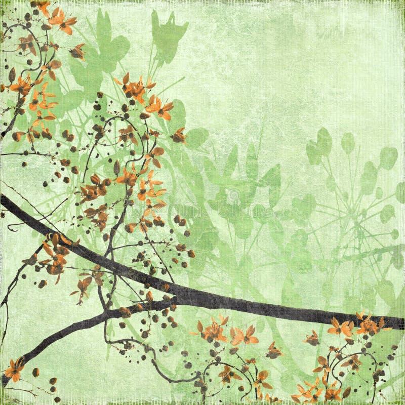 Frontera enredada del flor en el papel antiguo fotos de archivo libres de regalías