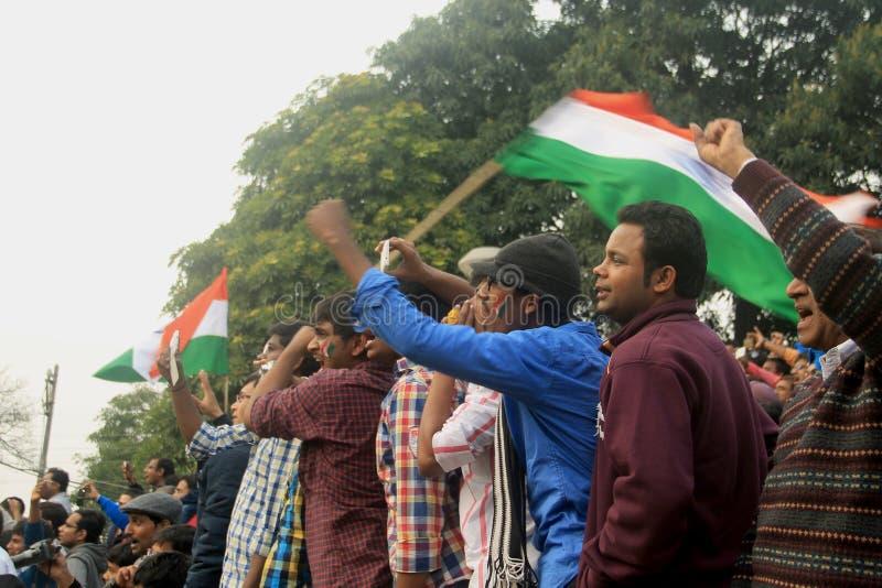 Frontera entre la India y Paquistán, celebración foto de archivo