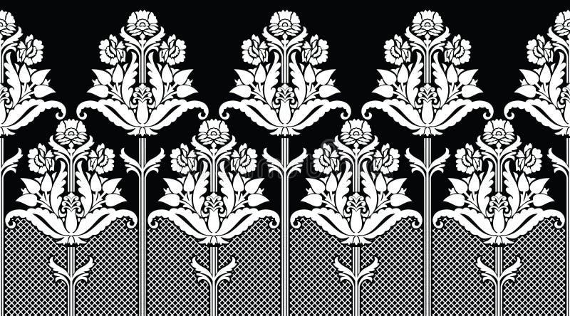 Frontera floral blanco y negro india tradicional inconsútil libre illustration