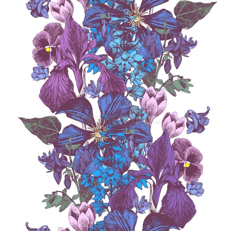 Frontera floral colorida inconsútil del vector stock de ilustración