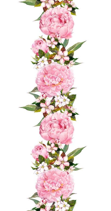 Frontera floral con la flor rosada Tira inconsútil del vintage watercolor ilustración del vector