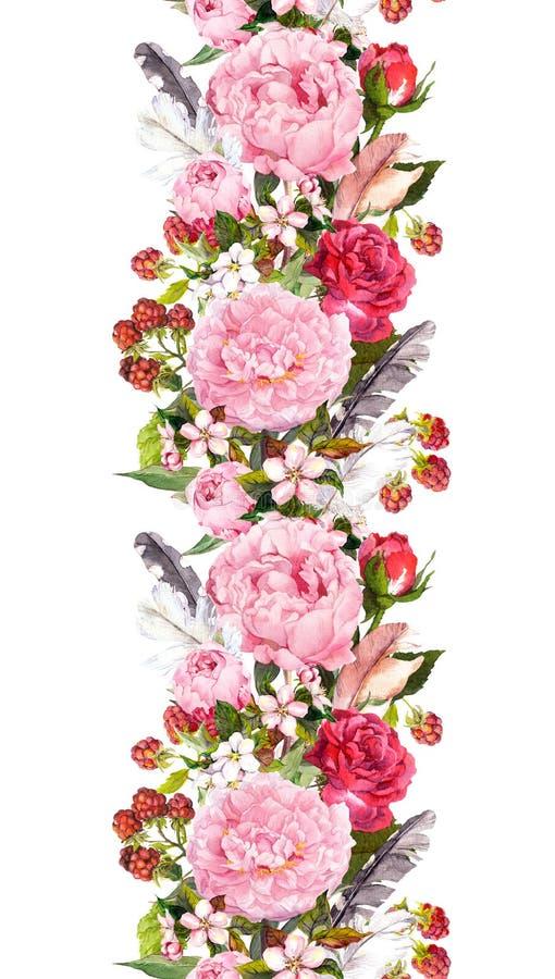 Frontera floral con las flores, rosas, plumas Tira repetida vintage watercolor imagen de archivo libre de regalías