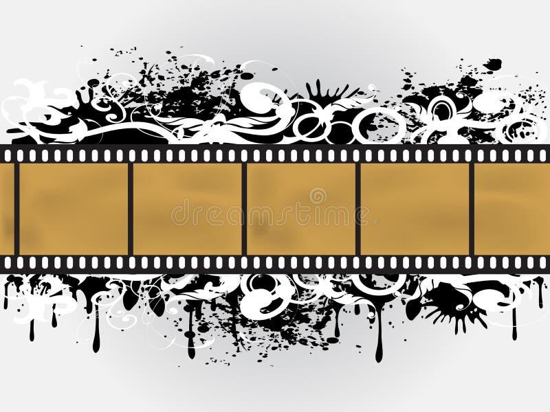 Frontera floral de la película de Grunge stock de ilustración