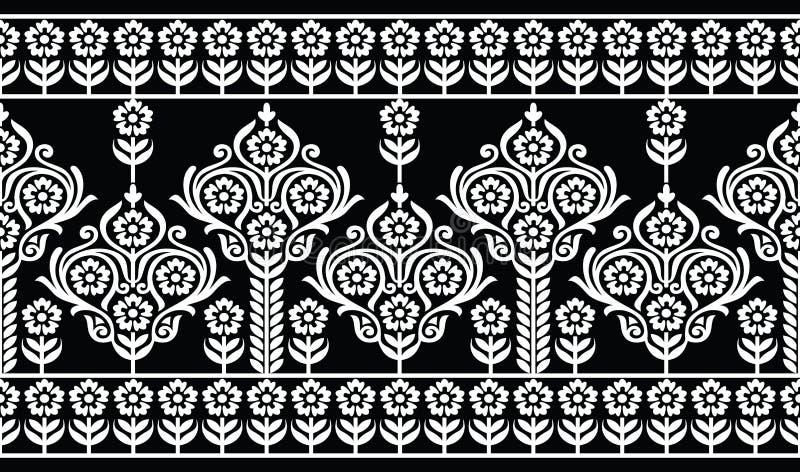 Frontera floral del damasco blanco y negro inconsútil libre illustration