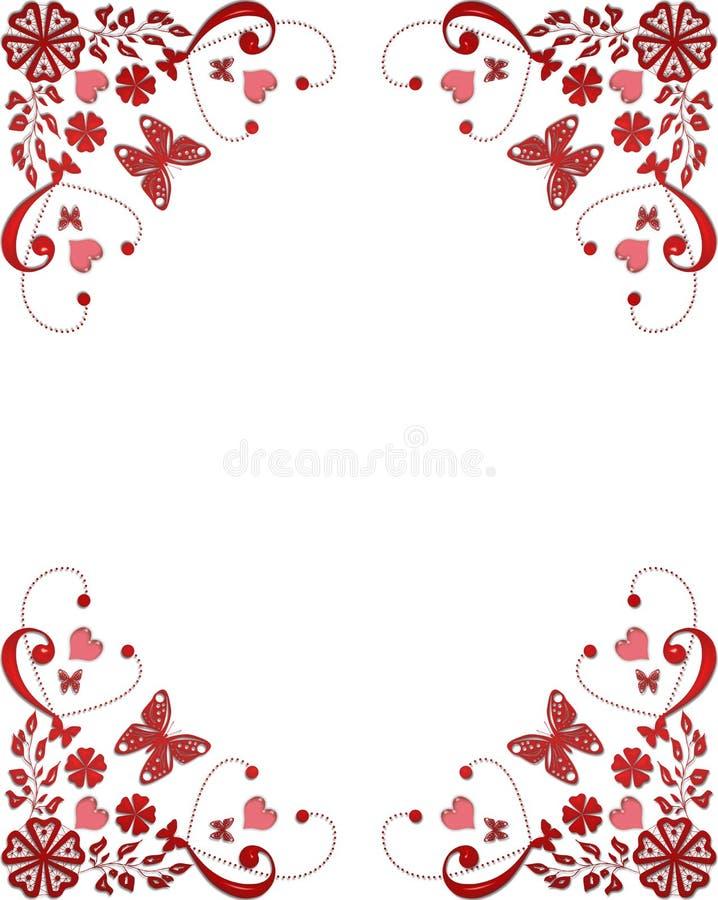 Frontera Floral Del Marco Rojo Con Las Mariposas Y Los Corazones ...