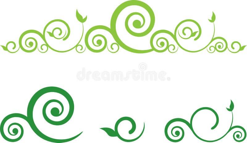 Frontera floral del remolino stock de ilustración