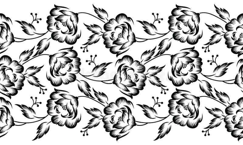 Frontera floral del vector inconsútil para el diseño de la materia textil libre illustration