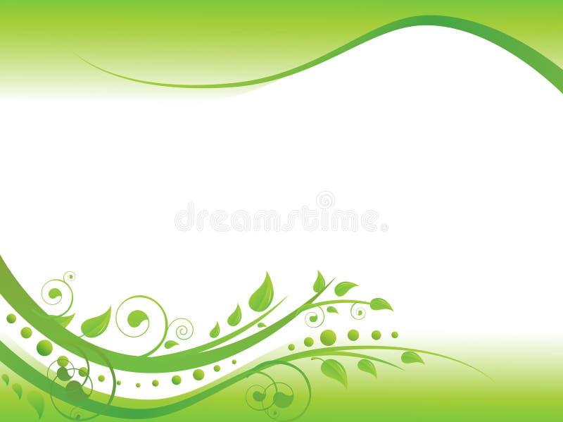 Frontera floral en verde stock de ilustración