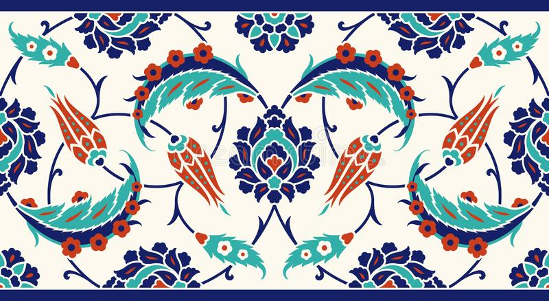 Frontera floral para su diseño Ornamento inconsútil del ï del ¿del otomano turco tradicional del ½ Iznik stock de ilustración
