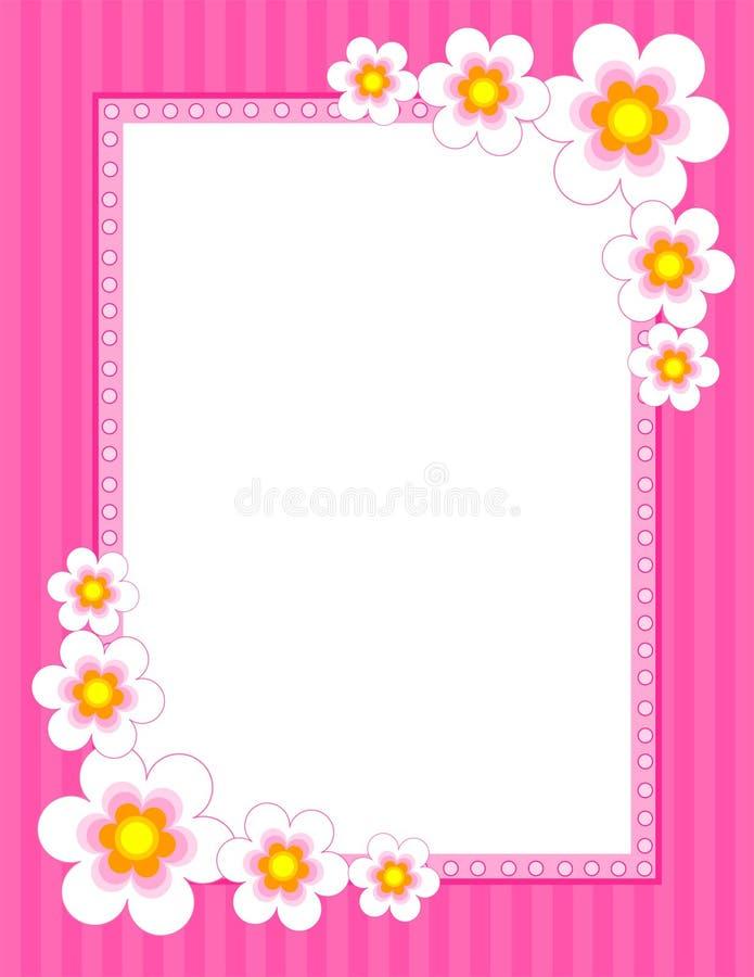 Frontera floral - resorte y verano stock de ilustración