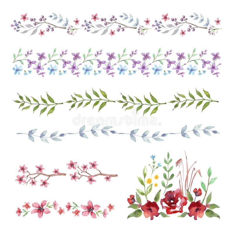 Frontera floral rosada Sistema de flores de la acuarela del vintage ilustración del vector