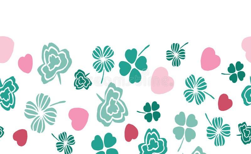 Frontera horizontal colorida de los símbolos irlandeses verdes y rosados con los corazones y los tréboles ilustración del vector