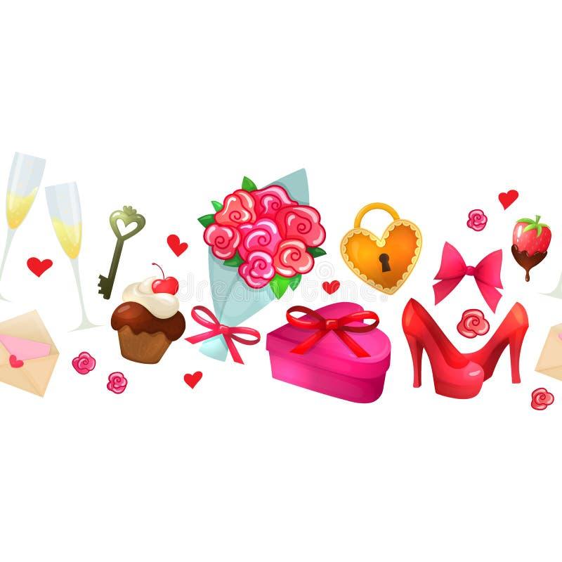Frontera horizontal de la tarjeta del día de San Valentín de la historieta ilustración del vector