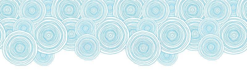 Frontera horizontal de la textura del agua del círculo del garabato ilustración del vector