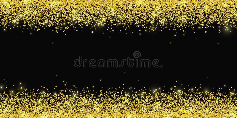 Frontera horizontal del brillo del oro en backround negro Vector stock de ilustración