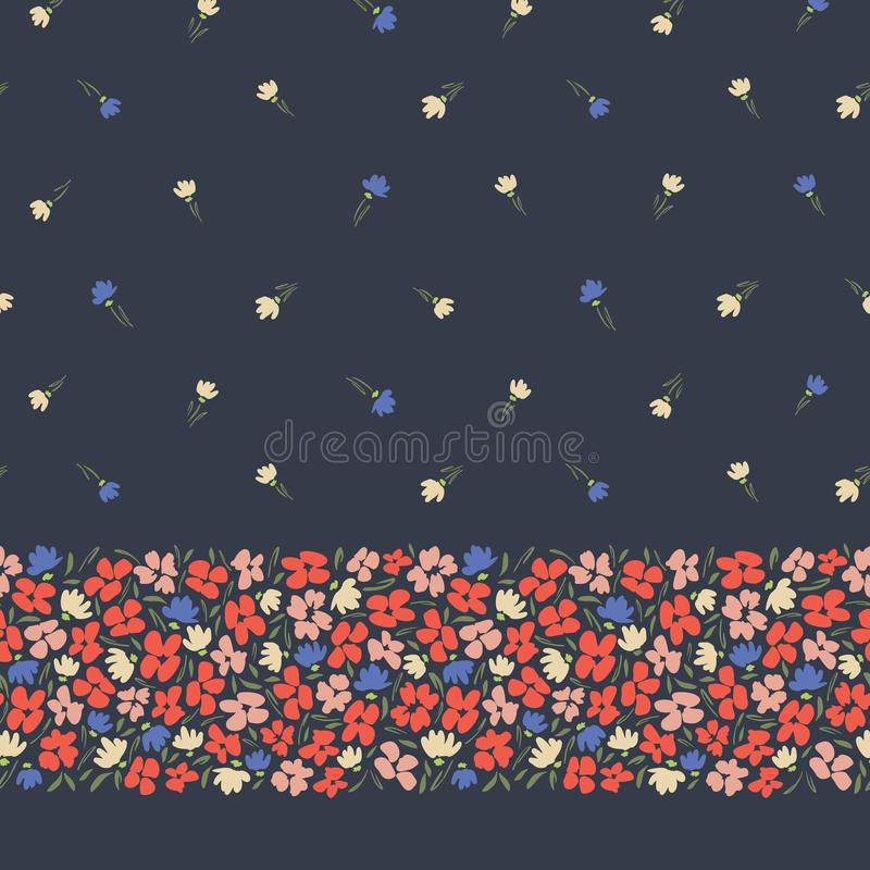 Frontera horizontal inconsútil y modelo del extracto del vector gestual ditsy colorido de las flores en fondo oscuro Borde floral ilustración del vector