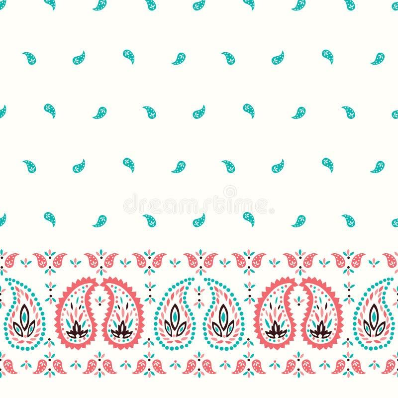Frontera horizontal incons?til y modelo del vector colorido oriental tradicional de Paisley Fondo indio cl?sico caprichoso libre illustration