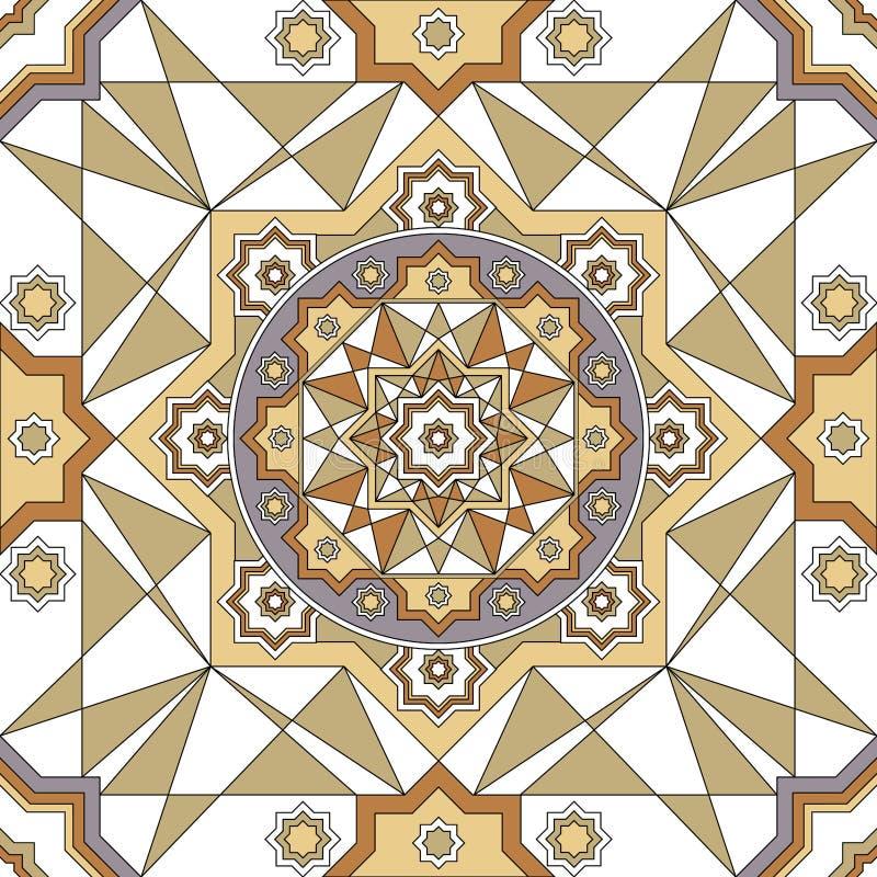 Frontera inconsútil adornada del vector en estilo del este Línea elemento del arte para el diseño, lugar para el texto Marco orna stock de ilustración