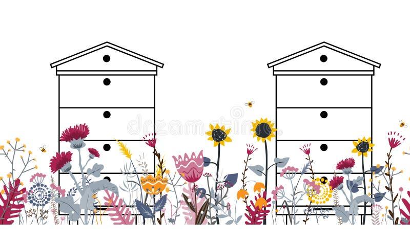 Frontera incons?til brillante del prado con las colmenas, las abejas, y las flores Vector concepto del colmenar libre illustration