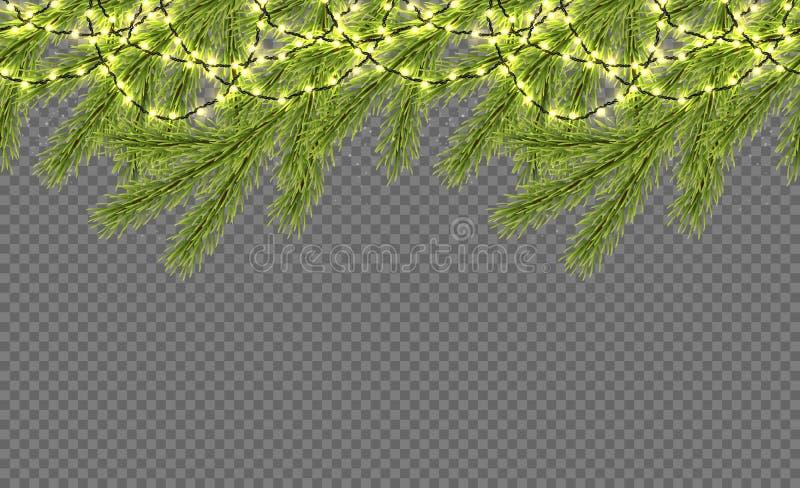 Frontera inconsútil con el abeto realista, las luces chispeantes y las guirnaldas Plantilla del diseño para la Feliz Navidad Vect ilustración del vector