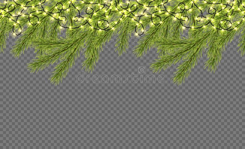 Frontera inconsútil con el abeto relistic, las luces chispeantes y las guirnaldas Plantilla del diseño para la Feliz Navidad Vect stock de ilustración