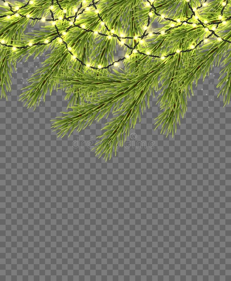 Frontera inconsútil con el abeto relistic, las luces chispeantes y las guirnaldas Plantilla del diseño para la Feliz Navidad Vect ilustración del vector