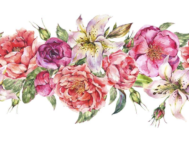 Frontera inconsútil de la acuarela del vintage con las flores florecientes Rosas y peonías, lirios reales ilustración del vector