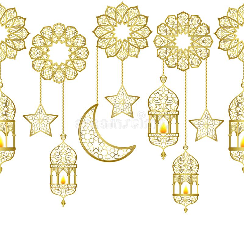 Frontera inconsútil de la linterna de oro árabe libre illustration