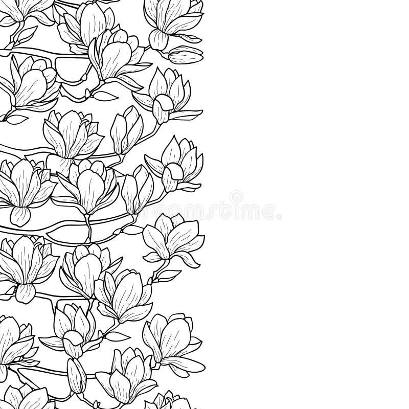 Frontera inconsútil de la magnolia ilustración del vector