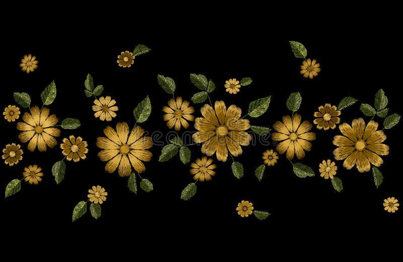 Frontera inconsútil de la moda de la flor del verano del bordado Plantilla realista del diseño de la textura Gerbera adornado flo stock de ilustración