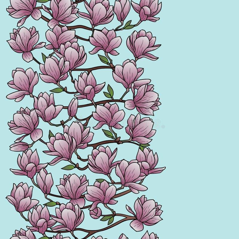 Frontera inconsútil de la primavera de la magnolia ilustración del vector