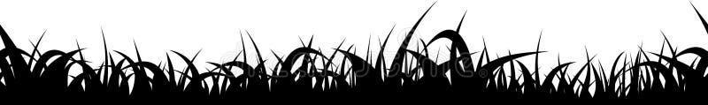 Frontera inconsútil de la silueta de la hierba Divisor repetible del prado del vector ilustración del vector