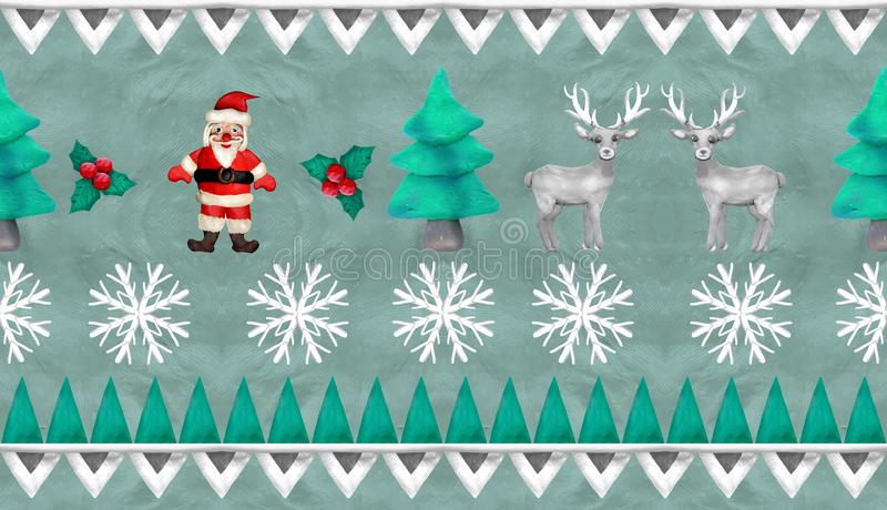 frontera inconsútil del telar jacquar del vintage de la Navidad de la representación 3D stock de ilustración