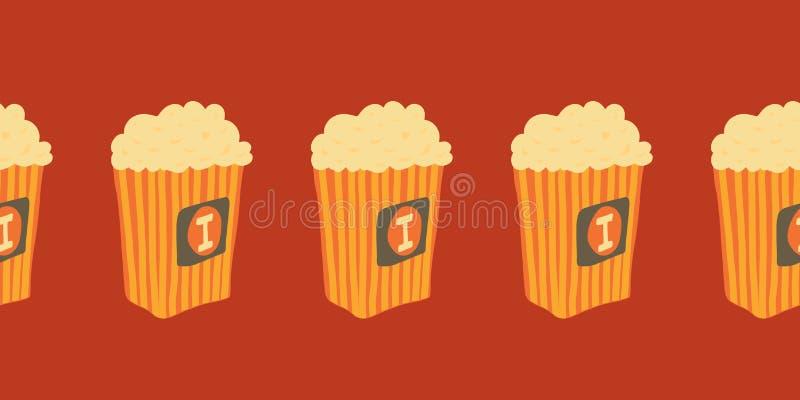 Frontera inconsútil del vector con los cubos exhaustos de las palomitas de la mano Ejemplo del bocado del cine alimentos de prepa stock de ilustración