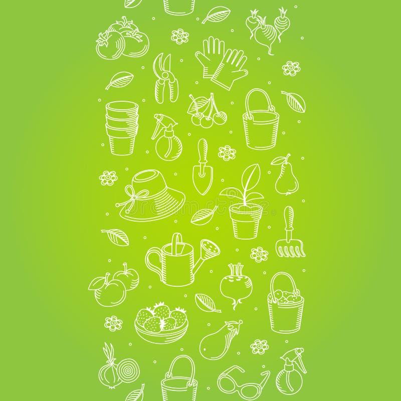 Frontera inconsútil del vector de utensilios de jardinería dibujados mano libre illustration
