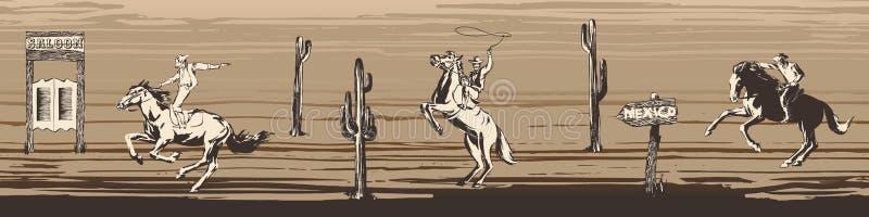Frontera inconsútil del vector del oeste salvaje Fondo masculino con la silueta de los vaqueros, caballos Caza y tiroteo alineado ilustración del vector