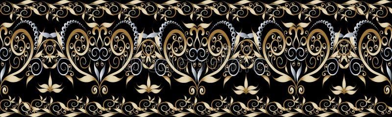 Frontera inconsútil del vintage floral Ornamentos del damasco ilustración del vector