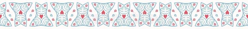 Frontera inconsútil exhausta del vector de la mano geométrica del damasco ilustración del vector