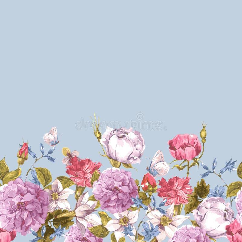 Frontera inconsútil floral de la acuarela con las rosas libre illustration