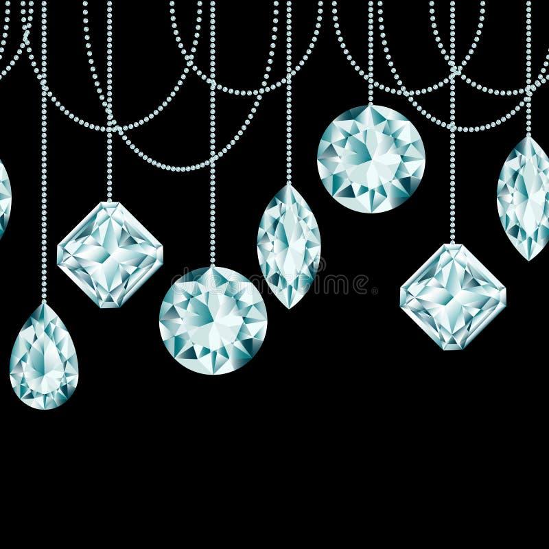 Frontera inconsútil hecha de decoraciones de la Navidad del diamante ilustración del vector