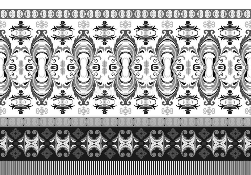 Frontera inconsútil horizontal del vector Estampado de flores hermoso en estilo moderno ilustración del vector